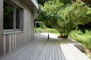 Terrasse mit eingefasster Pflanze und Findlingen